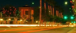 Downtown Chandler shines at night.